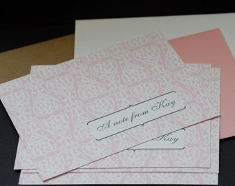 Pink Damask, personalized flat cards, set of 12, social stationery, letter writing set, personal correspondence, flat notes