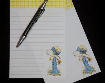 Girl with Chicks, social stationery set, fine writing set, hand written letter, 30 pieces, letter writing set, snail mail, like Holly Hobbie