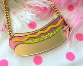 Hot Dog Laser Cut Acrylic Necklace