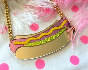 Hot Dog Laser Cut Acrylic Necklace