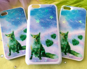 Neon Fox and Hearts Glitter Phone Case for iPhone 4/4S, 5S, 5c or 6