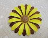Vintage 1970s  Large Flower Power Enamel Brooch