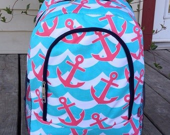 SALE Coral and Turquoise Anchor Backpack Monogrammed Name or Initials of Your Choice