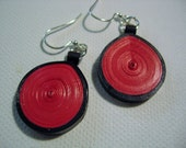 Quilled Red and Black Earrings