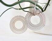 Silver laser cut earrings, round filigrees, round laser cut earrings, silver filigree earrings, delicate earrings, egyptian earrings