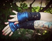 SALE 25% OFF!!! Wristwarmers 6 - Blue Metallic and Black