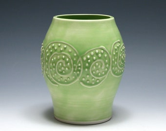 Light Green Vase with Raised Spirals and Dots