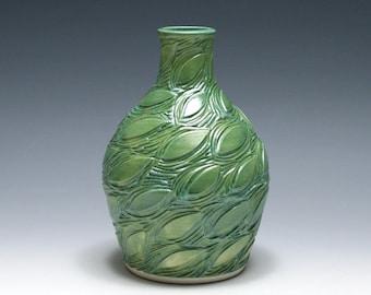 Jade Green Vase with Carved Leaf Design