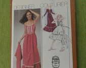 Vintage 70s Simplicity 9350 Designer Couturier Jessica McClintock Gunne Sax Sundress and Jacket Sewing Pattern size 10 B