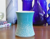 Blue Mug with Dots - Pebble Cup in Blue - Handleless Mug with Texture