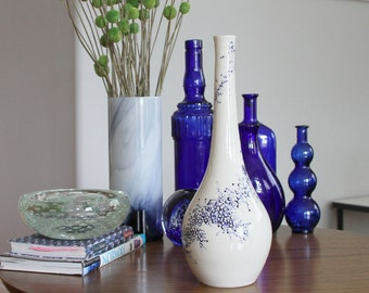 Tall Imprint Bottle in Cobalt Blue - Modern Pottery Bottle with Graphic Surface Design