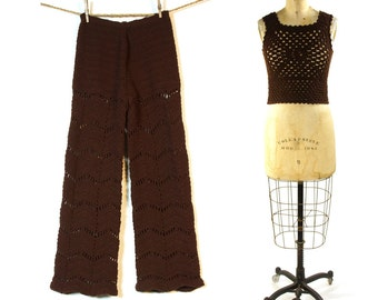 1960s Crochet Bellbottoms & Tank Set / One of a Kind Handmade Sweater Pants and Top
