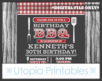 Red Gray BBQ Birthday Invitation Barbeque Cookout Contemporary Modern Typography Party Adult Digital Printable 5x7 Dark Grey White