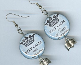 Keep Calm and Read Earrings - book charm - librarian book club readers literary gift - mismatched asymmetrical jewelry