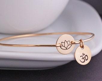 Lotus  Flower Jewelry,  Yoga Bracelet,  Personalized Bangle Bracelet, Yoga Jewelry, Hand Stamped Jewelry