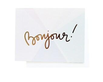 Bonjour! Gold Foil Notecard