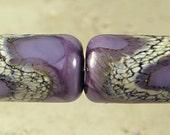 Purple Tube Lampwork Glass Bead Pair 10x15mm Amethyst