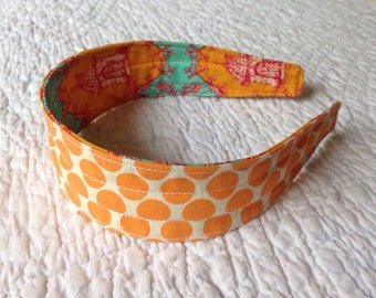 Orange Polka Dot ... Reversible & Comfy Fabric Headband