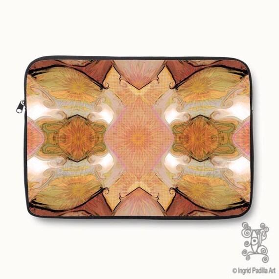 Boho, Bohemian, pink, orange, Floral, Neoprene, Laptop Sleeve, Macbook case, Laptop case, Laptop Cover, Ingrid Padilla, Abstract Art