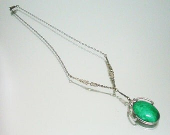 Art Deco Sterling Silver Art Glass Necklace Green Decorative Chain