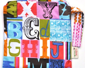Small 9 x 9 Wet bag / Snack / Swim / Diapers / Letterpress Alphabet Fabric / SEALED SEAMS and Snap Strap