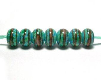 Handmade Lampwork Glass Beads - Terracotta Turquoise Swirls (7)