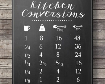 Kitchen conversions chart - chalkboard kitchen measurements sheet -  Printable wall art  - Kitchen decor -  Instant download digital print