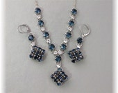 Navy Blue Necklace and Earring Set, Navy Blue Jewelry, Navy Weddings, Navy Blue Bridesmaids, Dark Blue Crystals, Diamante Jewelry