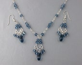 Navy Crystal Chandelier Necklace and  Earring Set, Chandelier Earrings, Navy Bridesmaids, Blue Crystal Chandelier Earrings