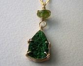 Rare Uvarovite Garnet Druzy, Faceted Peridot rondelle, 14k gold fill necklace