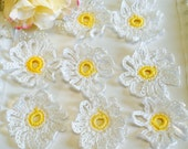 Reserve listing for Daria Pew.  Fancy Crochet Daisies, set of 8, Cotton  Daisies