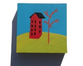 Little Houses, original acrylic painting, miniature art, original art, red house, hillside,  landscape
