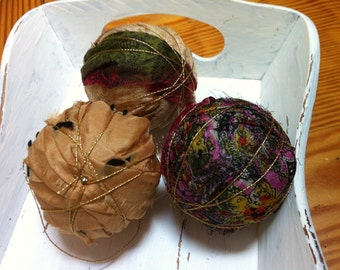 Vintage sari silk rag ball bowl filler
