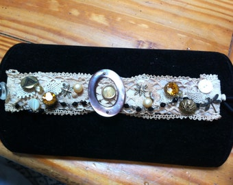 Lace and antique buttons cuff bracelet