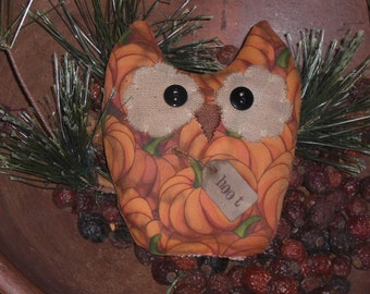Primitive Rustic Halloween Pumpkin Fall October 31 Seasonal Themed Folk Art Whimsy Hoot Owl Bird Bowl Filler Ornie Doll Shelf Sitter