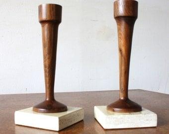 Vintage Mid Century Modern Walnut Candlestick Holders on Travertine Base, Wood Candle Holders, MCM Candlesticks, Marble base candlesticks
