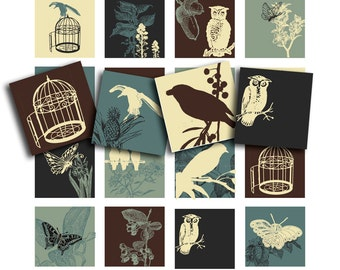 birds, birdcages, owls and flowers, a printable digital collage sheet, no. 123.