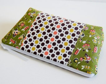 Cosmetic Case Makeup Bag Zipper Pouch Denyse Schmidt Quilter's Quarters Green and Pink