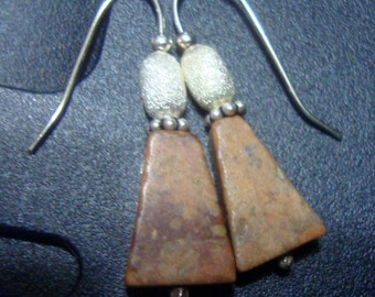 "Earrings Feldspar and solid eco friendly sterling silver about 1"" - truly handmade - brown pink orange hook go everywhere Office or Jeans"