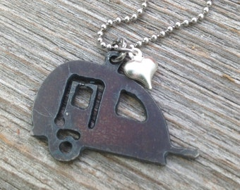 Happy Camper Necklace  SMALL | Rustic Recycled Metal Teardrop Trailer Outline Shape Tiny Silver Heart