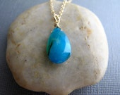 Azure Blue Chalcedony Necklace, Wire Wrapped Briolette Pendant, Bio Chalcedony Teal