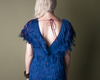 invisible limit blue fringe mini dress / open back dress / 80s party dress / s / 1410d