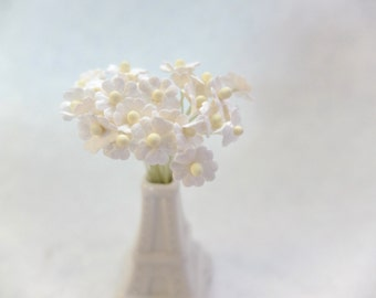 25 10mm white mulberry paper flowers