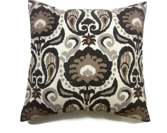 Decorative Pillow Cover Ikat Design Shades of Brown Taupe Cream Same Fabric Front/Back Toss Throw Accent 18x18 inch x