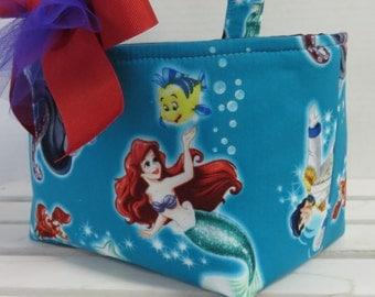 Candy Basket Bucket Storage Organizer Bin - Mini Tote - Made with Licensed Ariel Little Mermaid Ursula Fabric