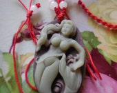 Lovely Mermaid Pendant Carved Stone on Chinese Necklace Jewelry Supplies Mermaid Cameo