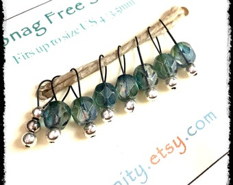 Snag Free Stitch Markers Extra Small Set of 8-- Blue Green Faceted Czech Glass -- J22-- For up to size US 4 (3.5mm) Knitting Needles