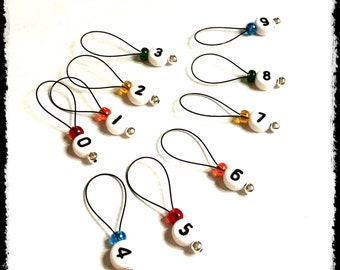 Snag Free Stitch Markers Large Set of 10 -- Rainbow with Numbers-- N1 -- For up to size US 17 (12.75mm) Knitting Needle