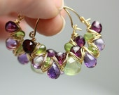 Grass and Violets Gem Weave Hoops . Amethyst Prehnite Gemstone Hoops .