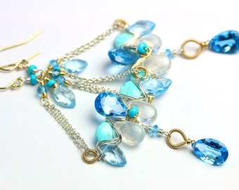 Swiss Blue Topaz and Sleeping Beauty Turquoise Chandelier Earrings Mixed Metals